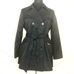 Via Spiga Short Black Double Breasted Trench Coat